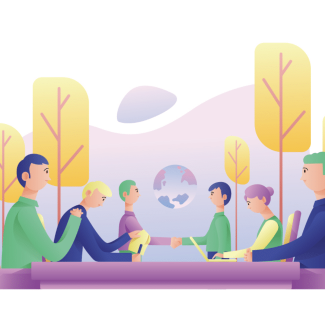Startup members discussing founder equity in a meeting